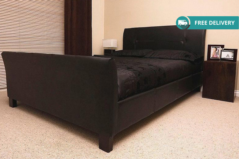 Faux Leather Sleigh Bed with Mattress Options