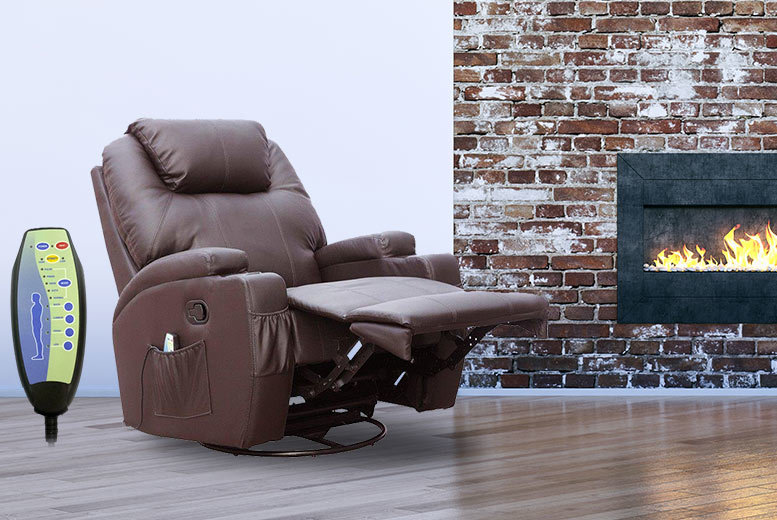 £189 instead of £490 for a reclining massage chair with ten different features - choose black, brown, red or cream and save 61%