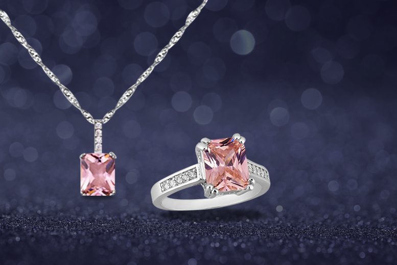 £49.99 instead of £549 (from Your Ideal Gift) for a five-carat emerald cut pink sapphire pendant necklace and ring set - save 91%