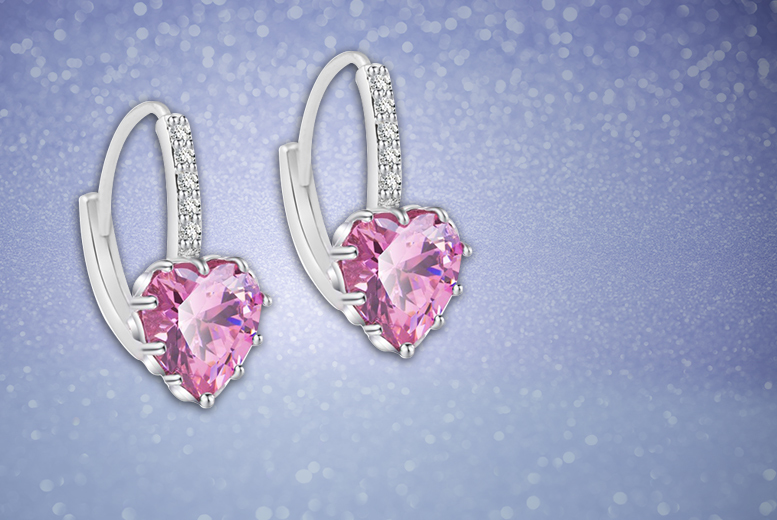 £29.99 instead of £299 (from Your Ideal Gift) for a pair of heart cut sapphire earrings - choose from blue, pink and clear and save 90%