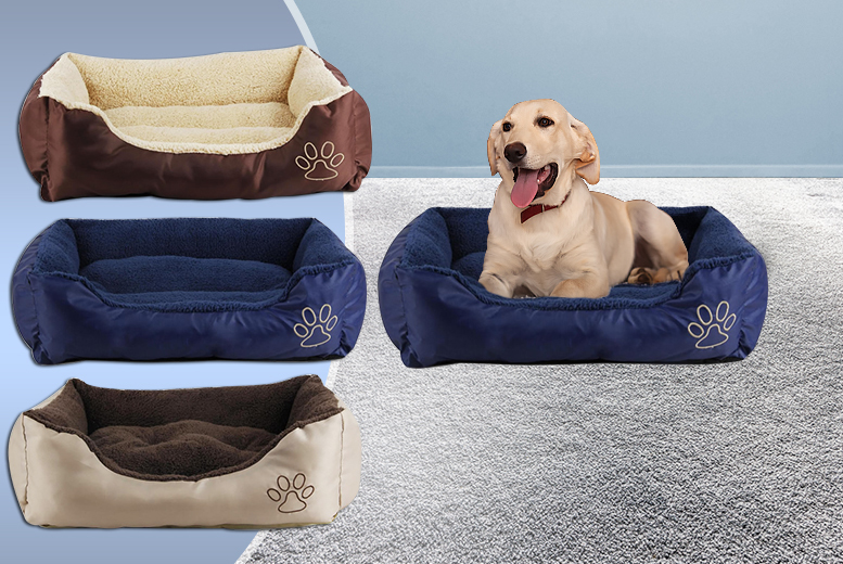£6 for a small deluxe soft dog bed, £8 for a medium bed, £10 for a large bed, £12 for an XL bed or £14 for an XXL bed - choose from three colours and save up to 70%