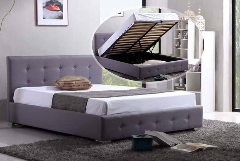 Contemporary Grey Ottoman Storage Fabric Bed