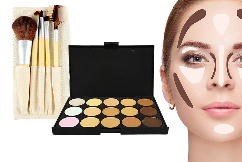 Contouring Palette and 5pc Bamboo Brush Set