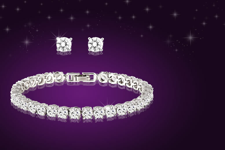 Tennis Bracelet and Earrings Duo Set Made with Swarovski Elements
