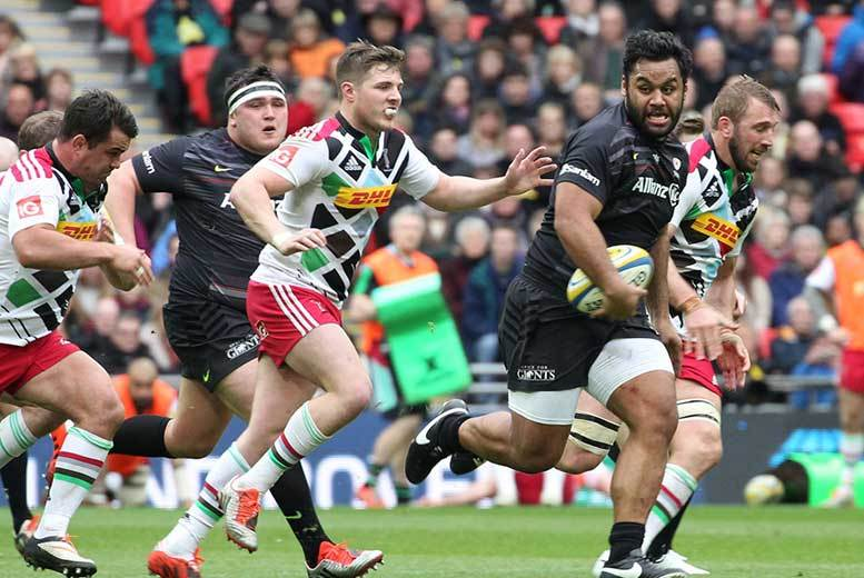 £7.50 for a child's ticket or £15 for an adult ticket to see Saracens vs. Harlequins rugby at Wembley Stadium on 24th April