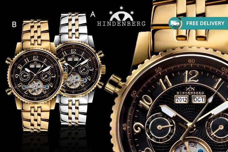 Men's Hindenberg 'Gold Edition' Automatic Watch - 4 Designs!