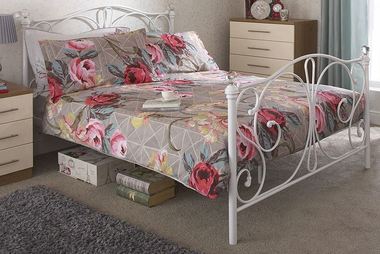 Metal Bed Frame With Crystal Embellishments - 2 Colours!