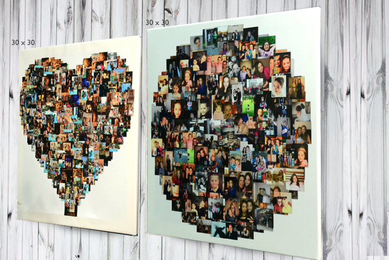 From £9 for a personalised photo collage canvas in a heart, square or circle-shaped design - choose from four sizes and save up to a picture perfect 80%