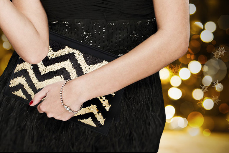 Genuine Leather Sequin Clutch Bag for £14.99