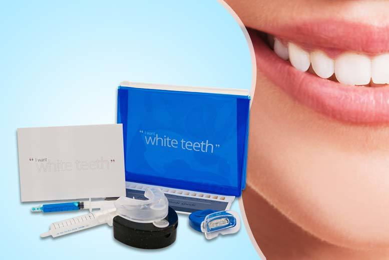 £14.99 instead of £99 (from I Want White Teeth) for a nine-piece LED home teeth whitening kit - save a pearly white 85%