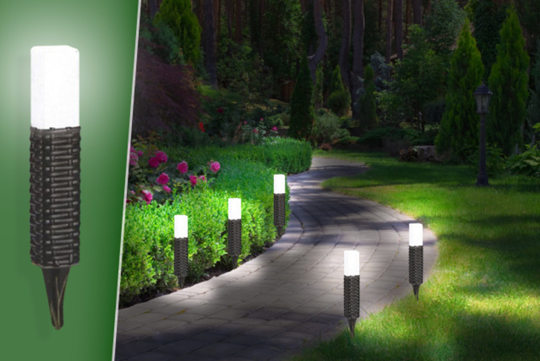 £14.99 instead of £39.99 for five rattan-style solar light garden stakes - save 63%