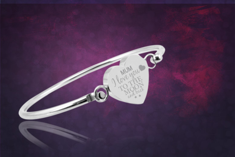 £16 instead of £49 (from British Gem) for a 'Mum I love you to the moon and back' bangle - personalise it with a sweet message and save 67%