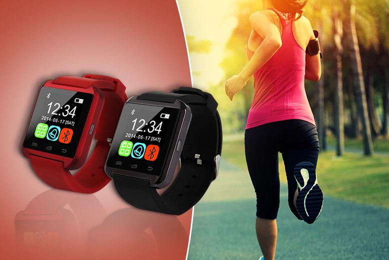 £14.99 instead of £99.99 for a Bluetooth smart watch - choose red or black and save 85%