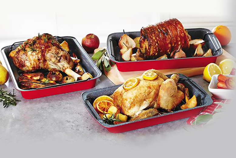 £12.99 instead of £29.99 for a set of three durastone roasting trays - choose from three colours and save a tasty 57%