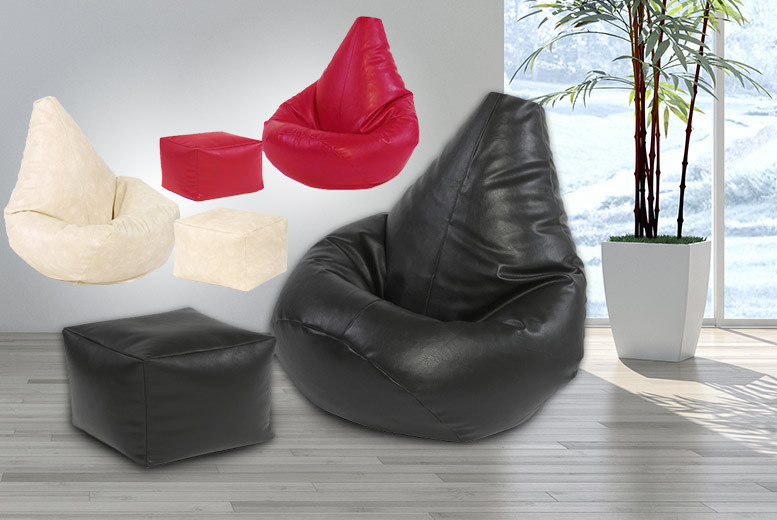 £29 instead of £89 (from UK Beanbags) for a highback faux leather beanbag, £34 to include a matching footstool - choose from six colours and save up to 67%