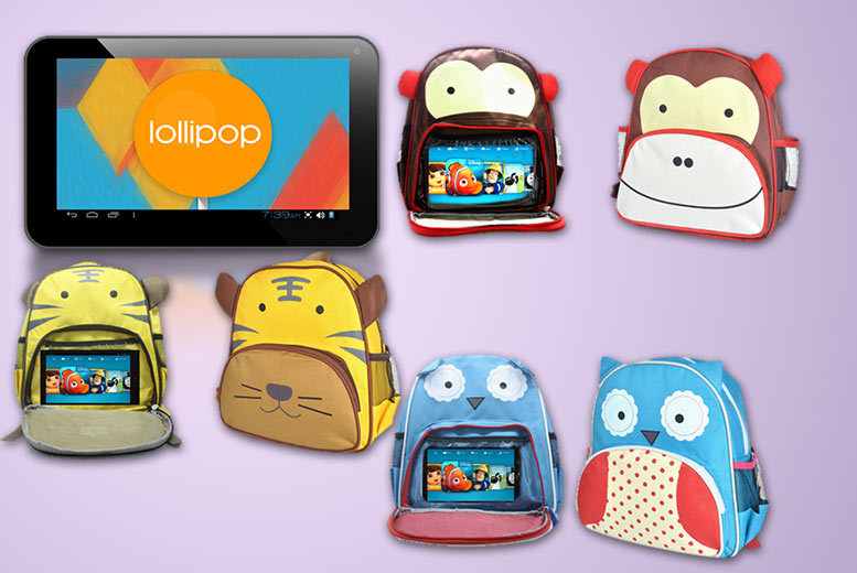 "£32 for a children's 7"" tablet bundle, £33 to include a backpack - choose from three groovy designs"