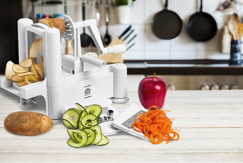 £9.99 instead of £31 (from Sashtime) for a three-blade vegetable spiral slicer - slice 'em before your dice 'em and save 68%
