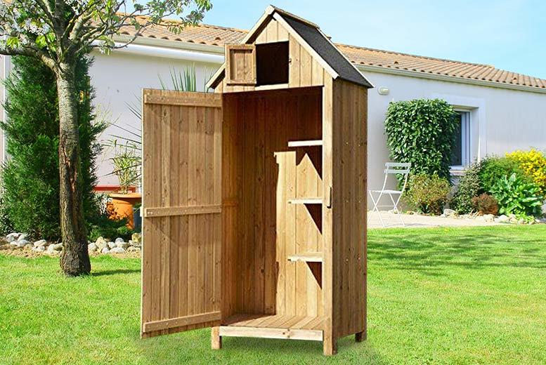 Wooden beach hut style storage shed for 129 for Storage huts for garden