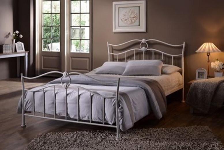 Designer Metal Frame Double Bed & Optional Mattress