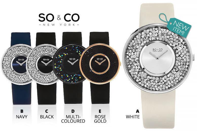 Ladies Luxury SO&CO Crystal-Filled Watch - 5 Designs!