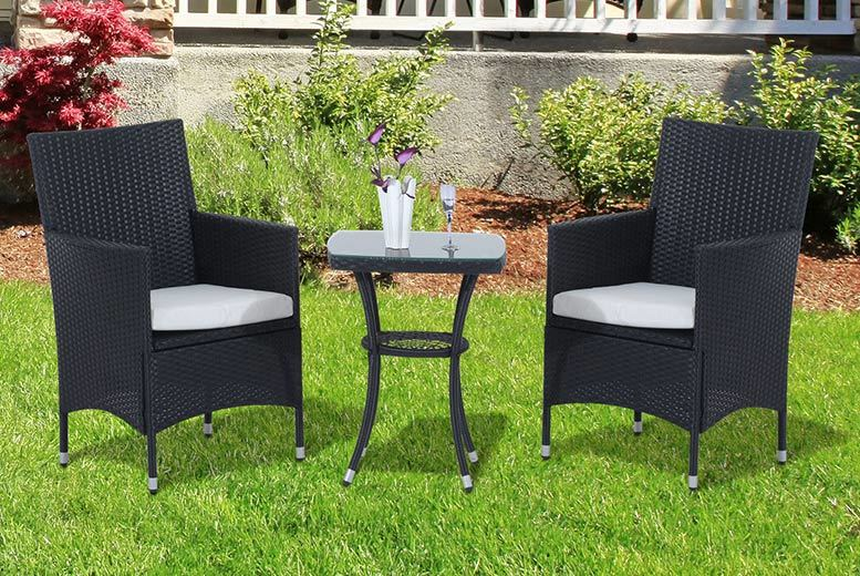 3pc bistro rattan garden furniture set 2 colours for Garden furniture deals