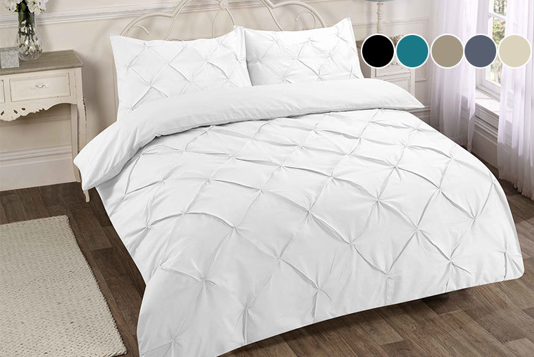 Pintuck Duvet Cover Set - 4 Sizes & 6 Colours!