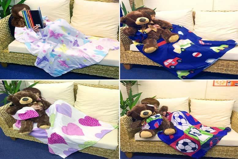 Super-Soft Fleece Blanket with Sleeves & Pocket – 4 Designs! for £6.99