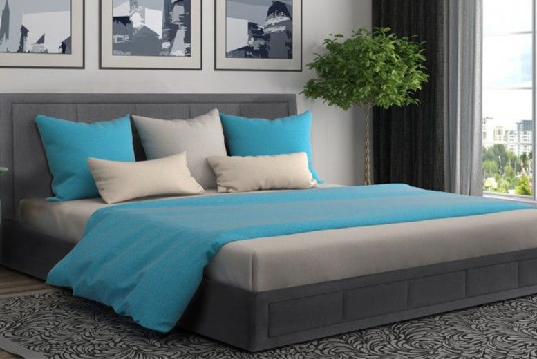 Luxury Grey Fabric Ottoman Storage Bed with Mattress Options!