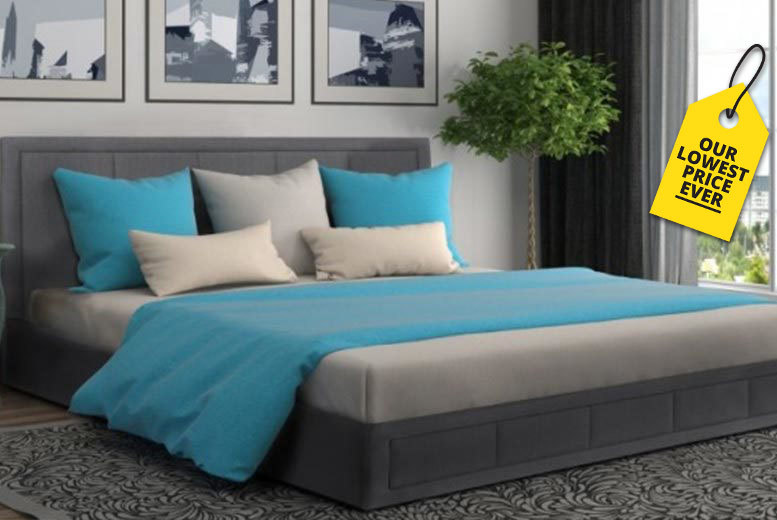 Luxury Grey Fabric Ottoman Storage Bed with Mattress Options!