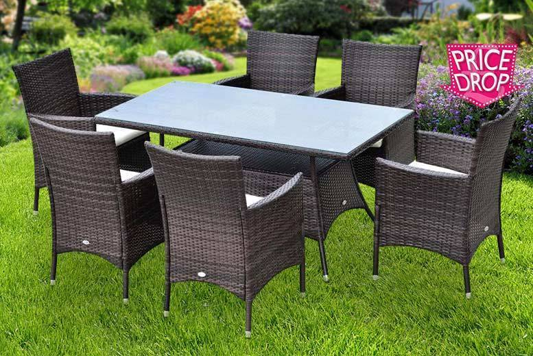 7pc Rattan Outdoor Dining Set for £279
