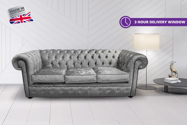 Bexley Handcrafted 3-Seater Crushed Velvet Chesterfield Sofa for £599
