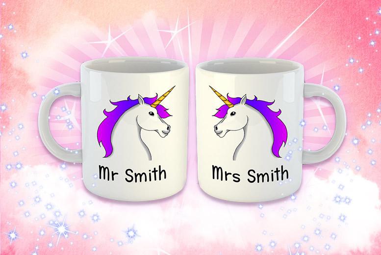 2 Personalised Unicorn Mugs for £12
