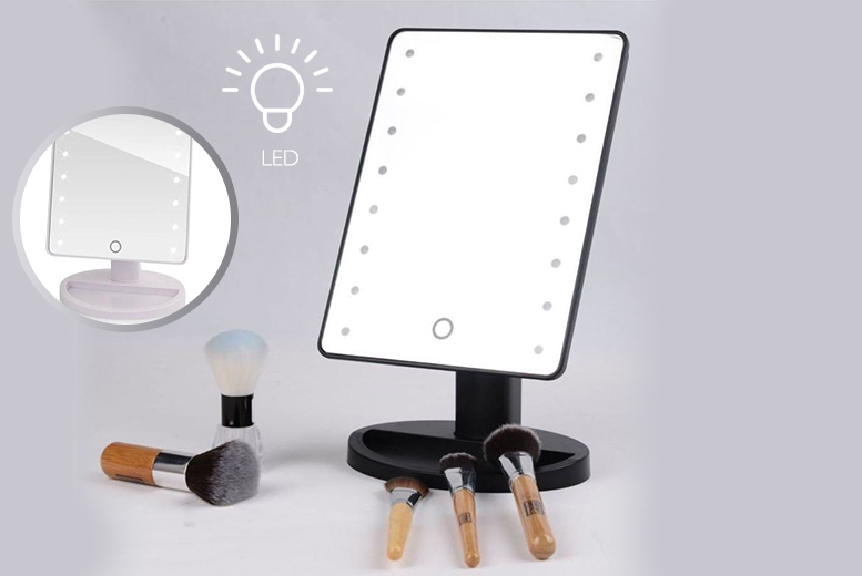 Touch-Screen LED Make-Up Mirror – 2 Colours! for £13.99