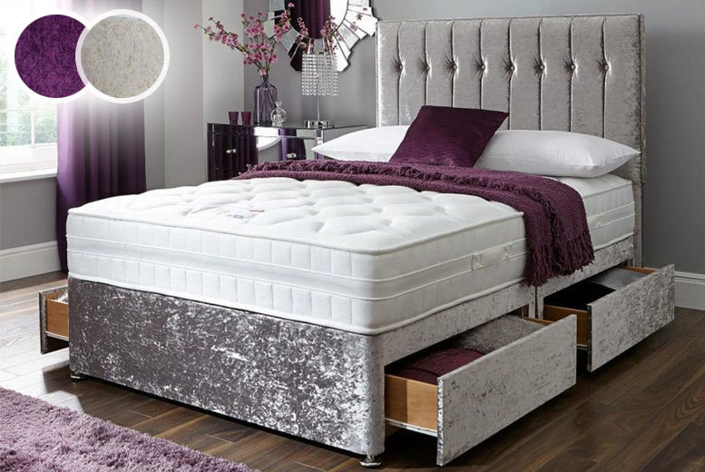 Crushed Velvet Divan with Mattress & Drawer Options – 3 Colours! from £129