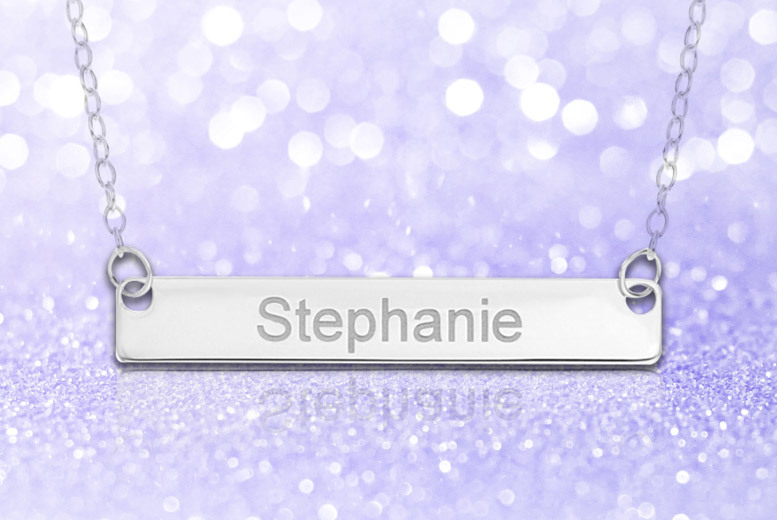 Sterling Silver Personalised Bar Necklace with 18″ Trace Chain for £9.99