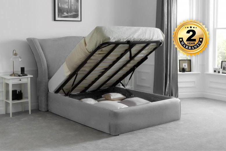 Designer Geneva Chenille Ottoman Storage Bed - 2 Year Warranty!