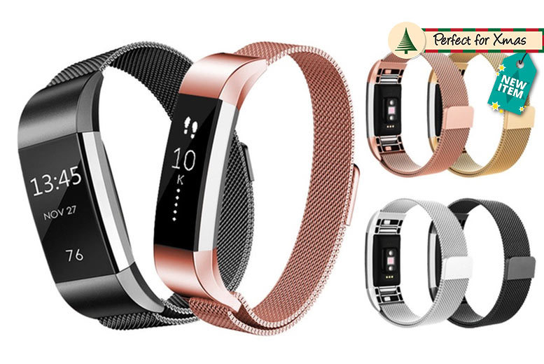 FitBit Compatible Magnetic Milanese Strap – 2 Designs & 4 Colours! from £8.98