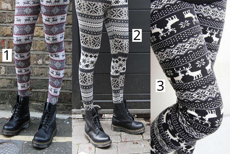 Retro Knitted Nordic Leggings – 3 Designs! for £6