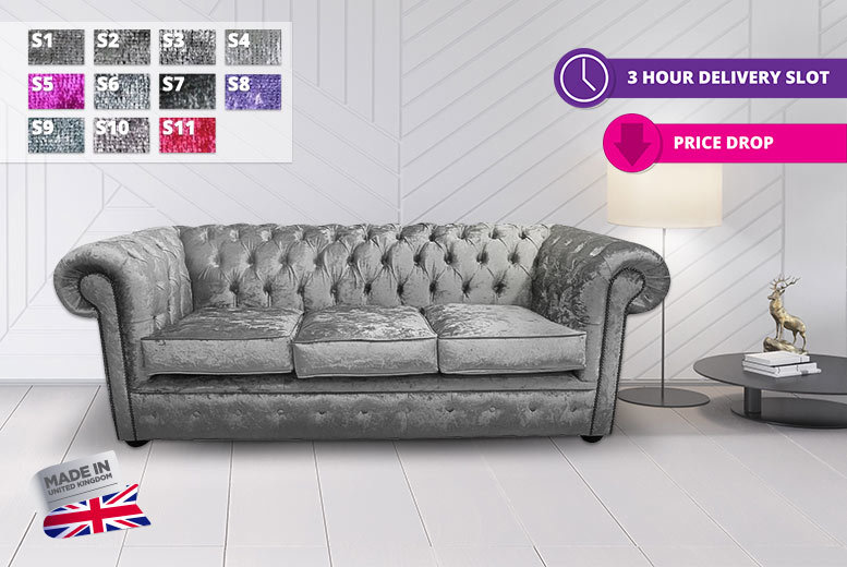 Bexley Handcrafted 3-Seater Crushed Velvet Chesterfield Sofa – 11 Colours! for £499