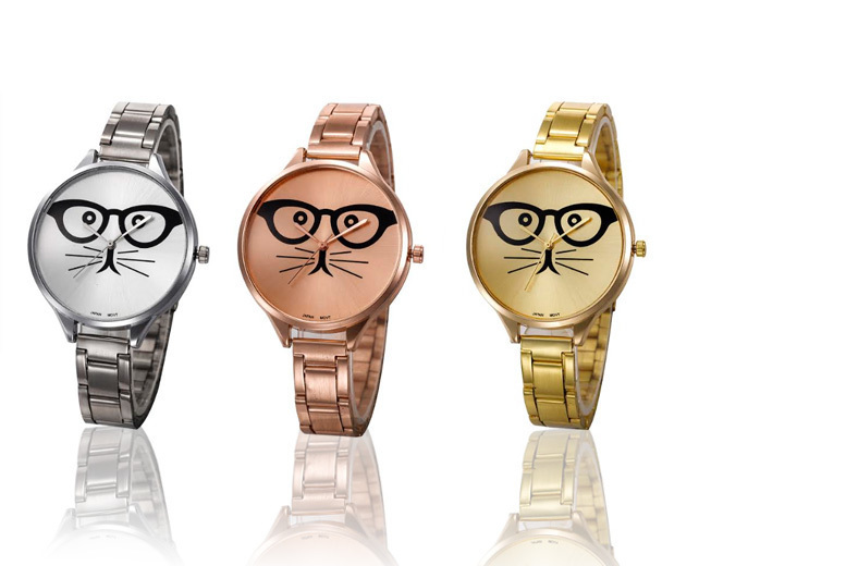 Stainless Steel Cat Geek Glasses Watch - 3 Colours!