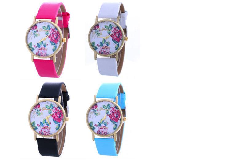 Ladies' Geneva Blossom Watch - 4 Colours!