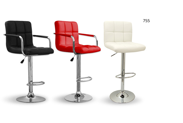 Faux-Leather Chrome Base Gas Lift Bar Stool – 3 Styles & 3 Colours! for £49