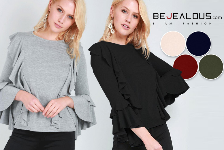 Flare-Sleeved Frill Top – 6 Colours & Sizes 8-22! for £10