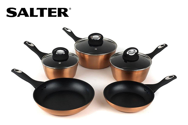 8pc Salter Copper-Effect Non-Stick Induction Pan Set for £44