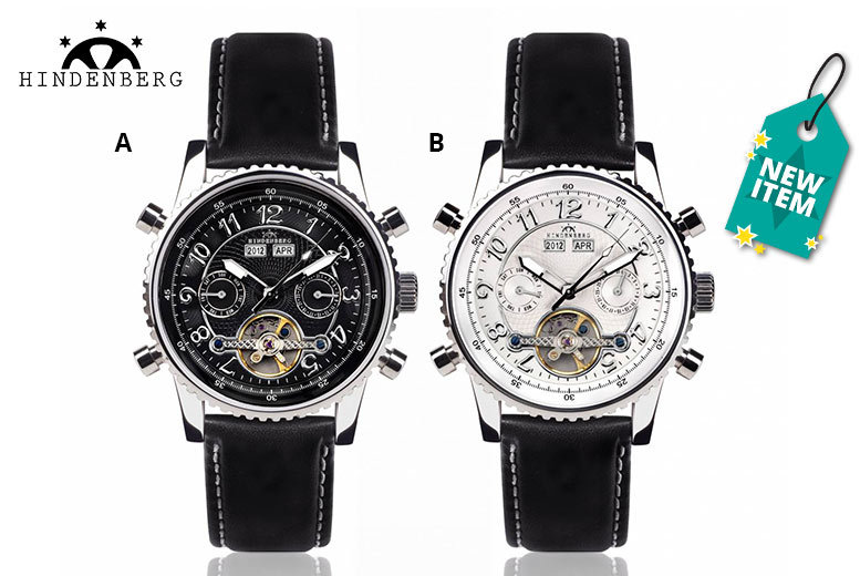 Men's Hindenberg 230-H Air Professional Leather Watch – 4 Designs! for £179