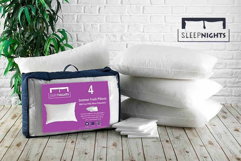 4 Essential Pillows & 4 Pillow Protectors