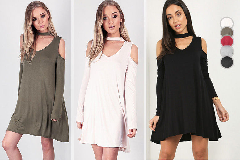 Cold-Shoulder Choker Neck Swing Dress – 5 Colours! from £12