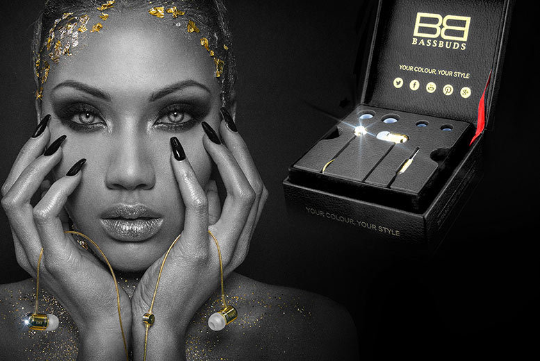 24-Carat Gold-Plated BassBuds™ Earphones made with Crystals from Swarovski for £29
