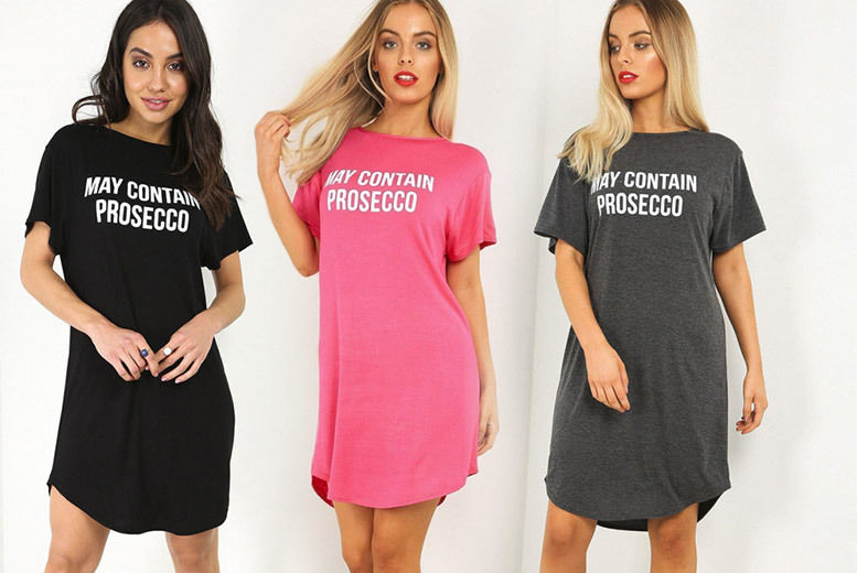 May Contain Prosecco' Night Dress – 5 Colours! for £7.99