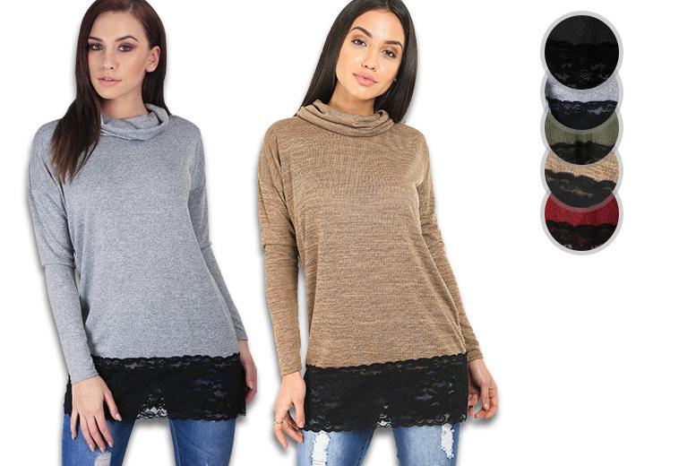 Cowl Neck Lace Trim Top – 5 colours & Sizes 8-26! for £11